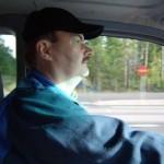 På väg ut Björn kör